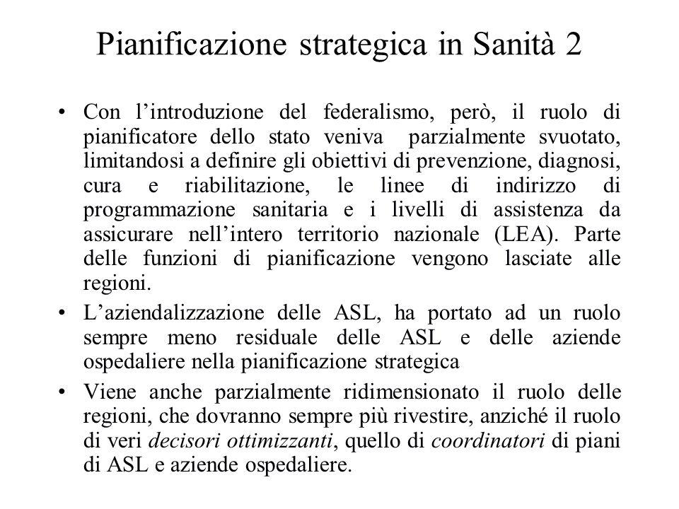 Pianificazione strategica in Sanità 2 Con lintroduzione del federalismo, però, il ruolo di pianificatore dello stato veniva parzialmente svuotato, lim