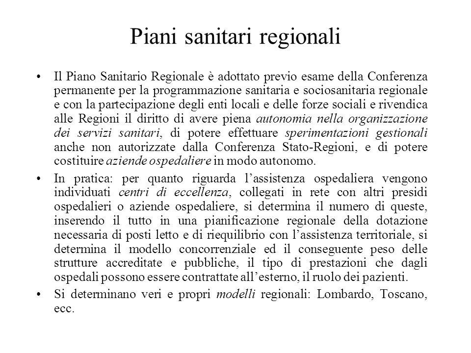 Piani sanitari regionali Il Piano Sanitario Regionale è adottato previo esame della Conferenza permanente per la programmazione sanitaria e sociosanit