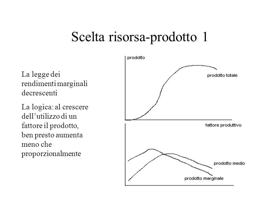 Scelta risorsa-prodotto 1 La legge dei rendimenti marginali decrescenti La logica: al crescere dellutilizzo di un fattore il prodotto, ben presto aume