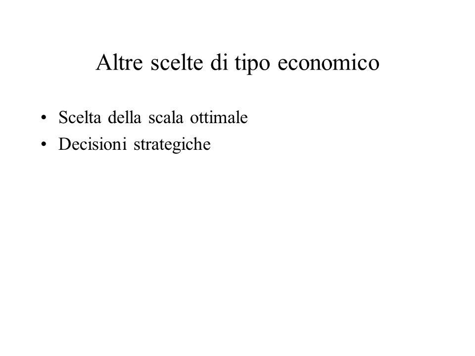 Altre scelte di tipo economico Scelta della scala ottimale Decisioni strategiche