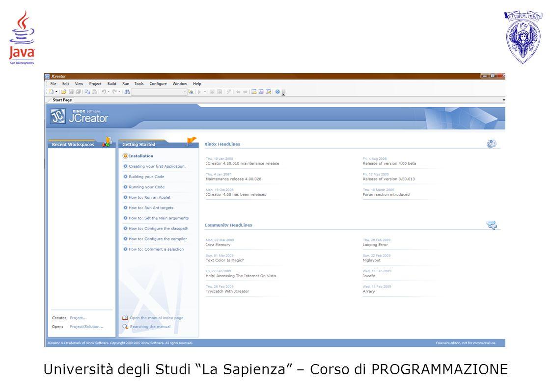 Università degli Studi La Sapienza – Corso di PROGRAMMAZIONE Esercizio 1d Riscrivere il programma Java dell Esercizio 1c usando il minor numero di variabili.