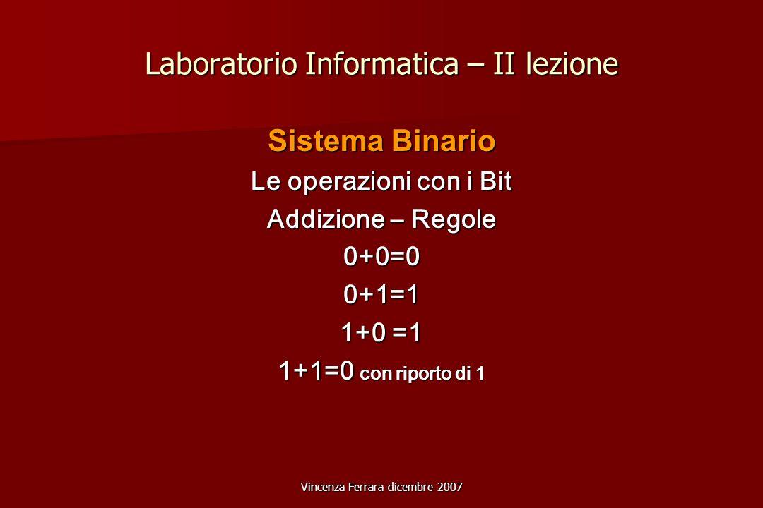 Vincenza Ferrara dicembre 2007 Laboratorio Informatica – II lezione Sistema Binario Le operazioni con i Bit Addizione – Regole 0+0=00+1=1 1+0 =1 1+1=0 con riporto di 1