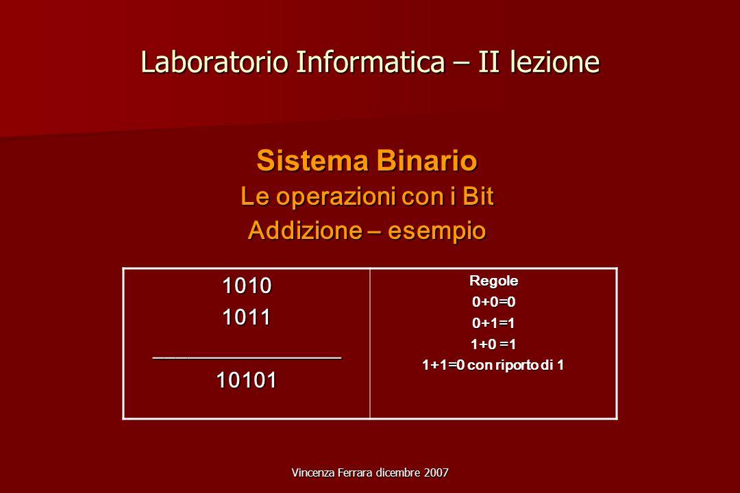 Vincenza Ferrara dicembre 2007 Laboratorio Informatica – II lezione Sistema Binario Le operazioni con i Bit Addizione – esempio 10101011_________________10101Regole0+0=00+1=1 1+0 =1 1+1=0 con riporto di 1