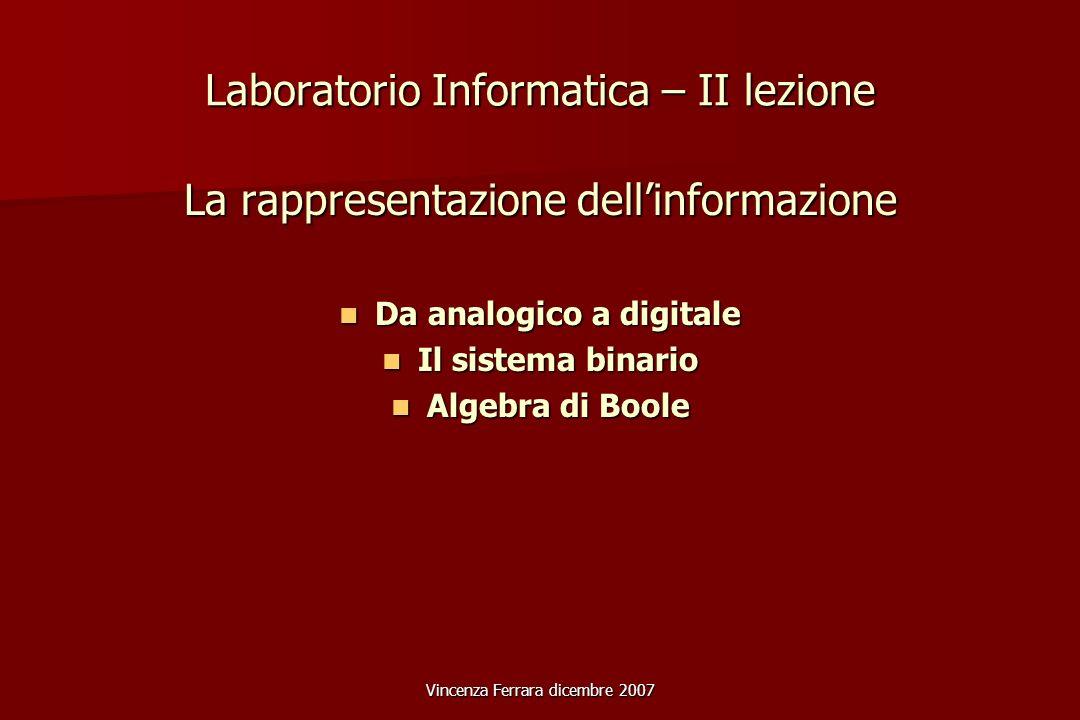 Vincenza Ferrara dicembre 2007 Laboratorio Informatica – II lezione La rappresentazione dellinformazione Da analogico a digitale Da analogico a digitale Il sistema binario Il sistema binario Algebra di Boole Algebra di Boole