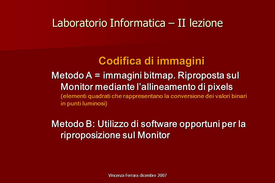 Vincenza Ferrara dicembre 2007 Laboratorio Informatica – II lezione Codifica di immagini Metodo A = immagini bitmap.