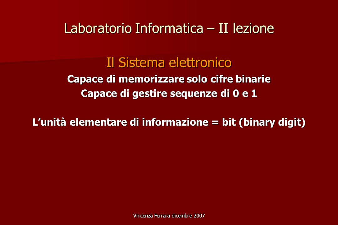 Vincenza Ferrara dicembre 2007 Laboratorio Informatica – II lezione Il Sistema elettronico Capace di memorizzare solo cifre binarie Capace di gestire sequenze di 0 e 1 Lunità elementare di informazione = bit (binary digit)