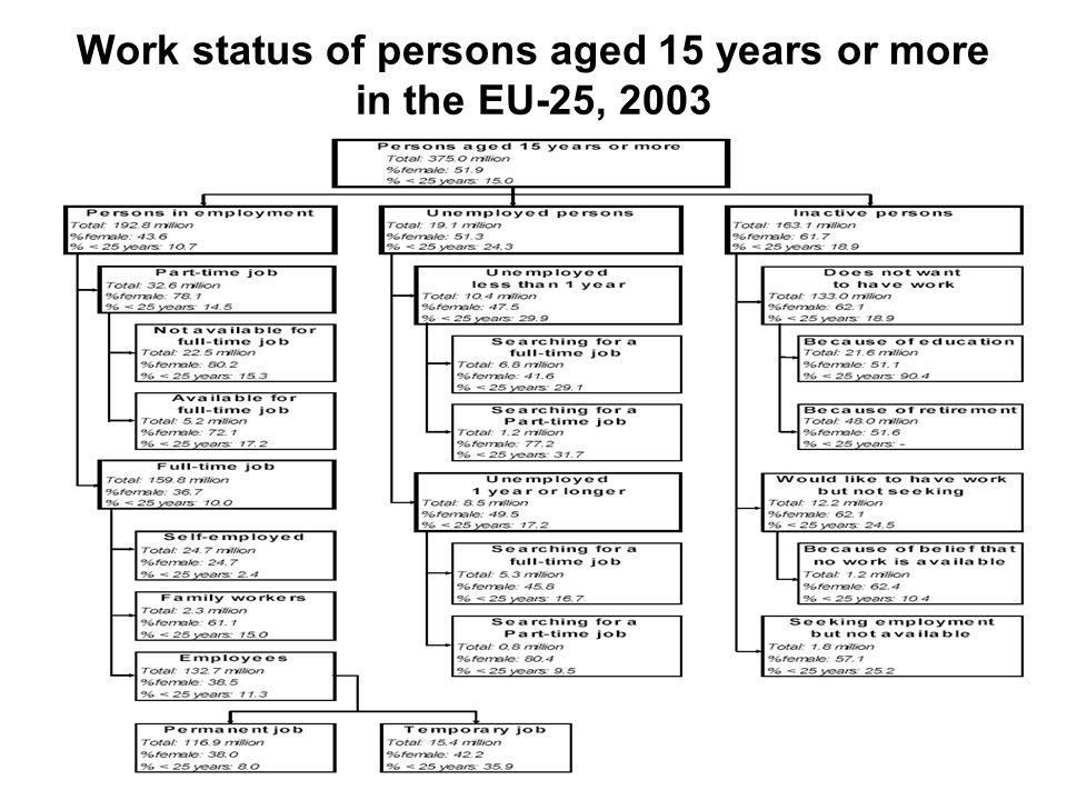 Work status of persons aged 15 years or more in the EU-25, 2003
