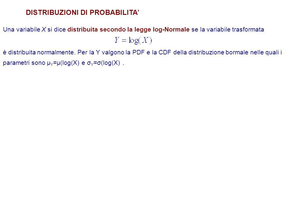 DISTRIBUZIONI DI PROBABILITA Una variabile X si dice distribuita secondo la legge log-Normale se la variabile trasformata è distribuita normalmente.