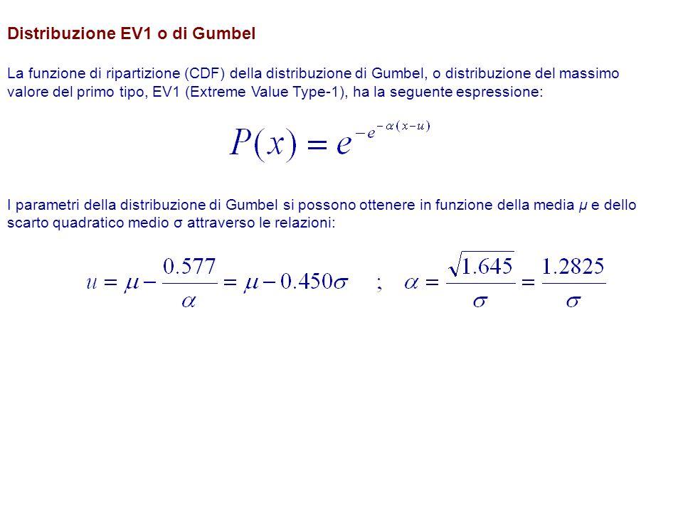 Distribuzione EV1 o di Gumbel La funzione di ripartizione (CDF) della distribuzione di Gumbel, o distribuzione del massimo valore del primo tipo, EV1 (Extreme Value Type-1), ha la seguente espressione: I parametri della distribuzione di Gumbel si possono ottenere in funzione della media μ e dello scarto quadratico medio σ attraverso le relazioni: