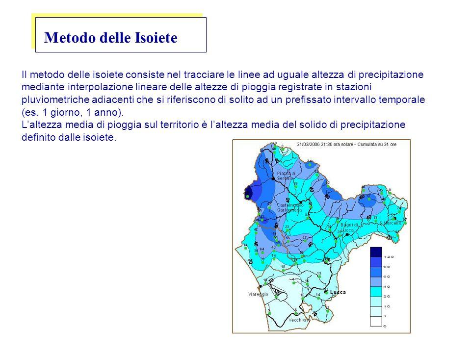 Metodo delle Isoiete Il metodo delle isoiete consiste nel tracciare le linee ad uguale altezza di precipitazione mediante interpolazione lineare delle altezze di pioggia registrate in stazioni pluviometriche adiacenti che si riferiscono di solito ad un prefissato intervallo temporale (es.