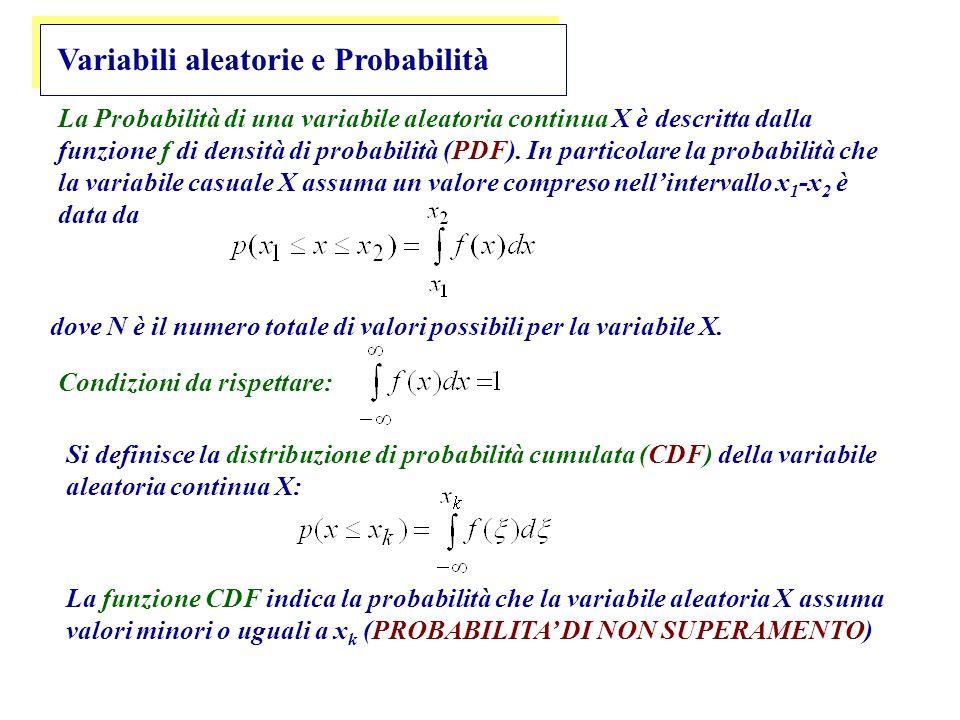 Variabili aleatorie e Probabilità La Probabilità di una variabile aleatoria continua X è descritta dalla funzione f di densità di probabilità (PDF).