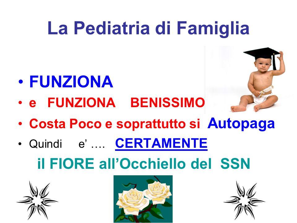 La Pediatria di Famiglia FUNZIONA e FUNZIONA BENISSIMO Costa Poco e soprattutto si Autopaga Quindi e …. CERTAMENTE il FIORE allOcchiello del SSN