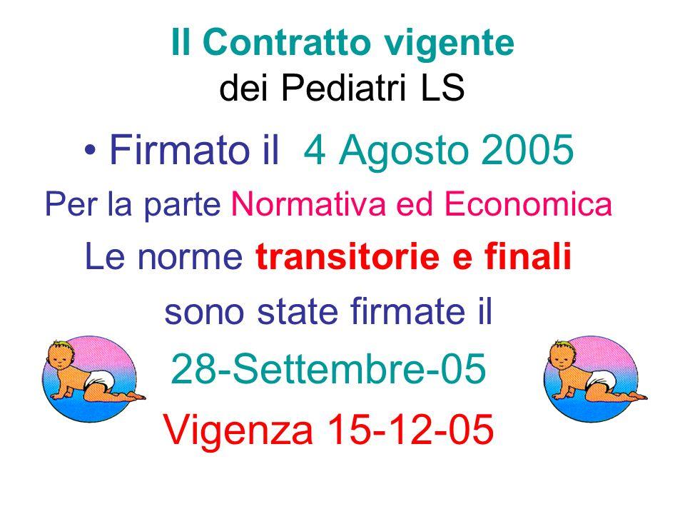 Il Contratto vigente dei Pediatri LS Firmato il 4 Agosto 2005 Per la parte Normativa ed Economica Le norme transitorie e finali sono state firmate il 28-Settembre-05 Vigenza 15-12-05