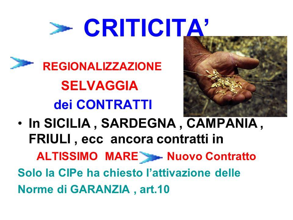 CRITICITA REGIONALIZZAZIONE SELVAGGIA dei CONTRATTI In SICILIA, SARDEGNA, CAMPANIA, FRIULI, ecc ancora contratti in ALTISSIMO MARE Nuovo Contratto Sol