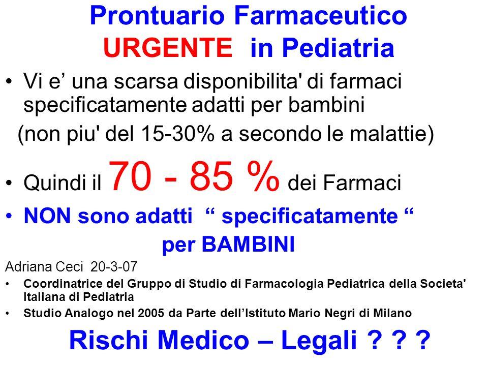 Prontuario Farmaceutico URGENTE in Pediatria Vi e una scarsa disponibilita' di farmaci specificatamente adatti per bambini (non piu' del 15-30% a seco