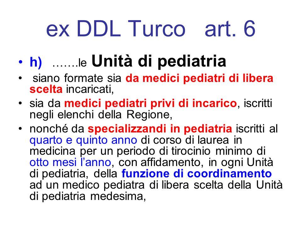 ex DDL Turco art. 6 h) …….le Unità di pediatria siano formate sia da medici pediatri di libera scelta incaricati, sia da medici pediatri privi di inca