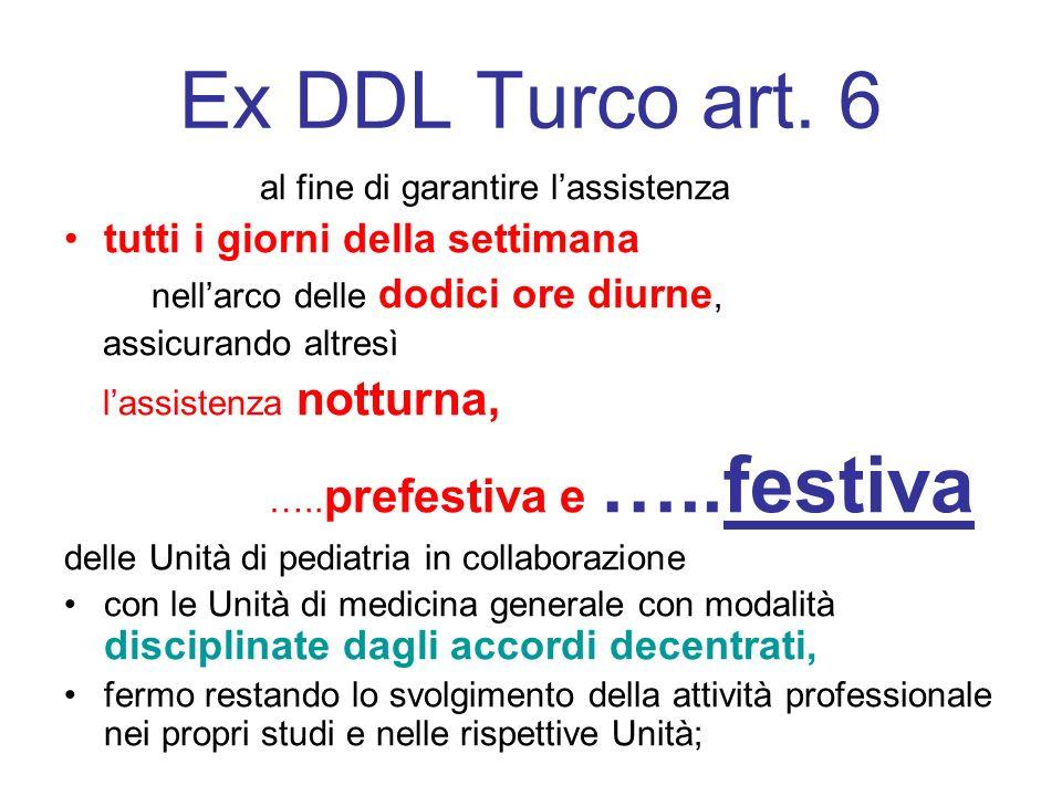 Ex DDL Turco art. 6 al fine di garantire lassistenza tutti i giorni della settimana nellarco delle dodici ore diurne, assicurando altresì lassistenza