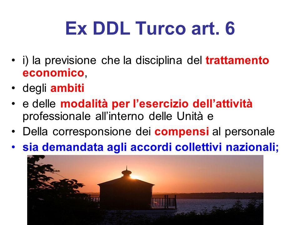 Ex DDL Turco art. 6 i) la previsione che la disciplina del trattamento economico, degli ambiti e delle modalità per lesercizio dellattività profession