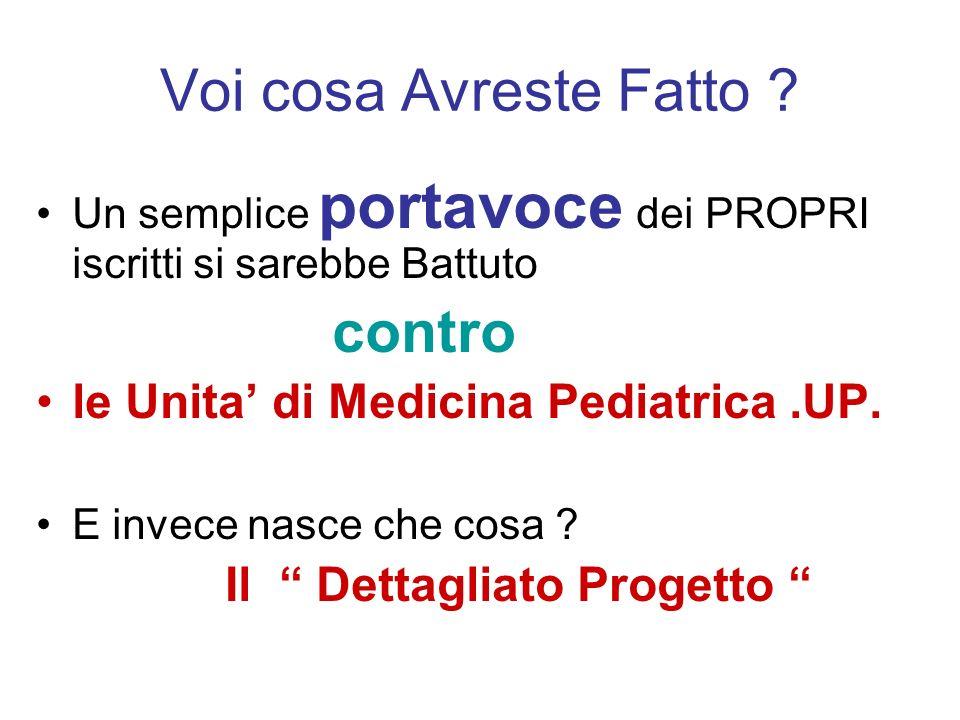 Voi cosa Avreste Fatto ? Un semplice portavoce dei PROPRI iscritti si sarebbe Battuto contro le Unita di Medicina Pediatrica.UP. E invece nasce che co