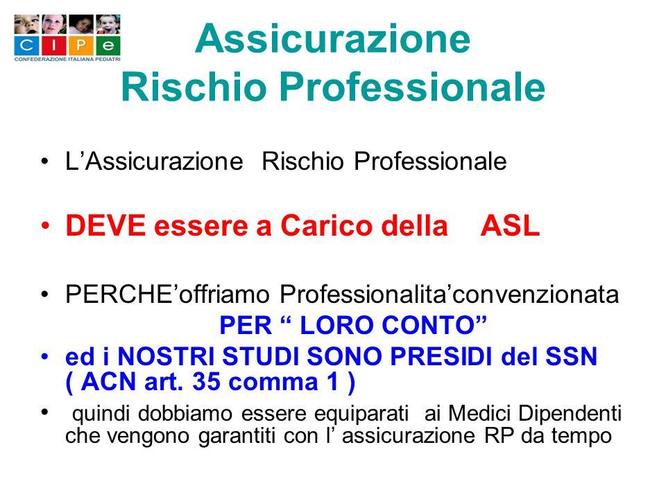 Assicurazione Rischio Professionale LAssicurazione Rischio Professionale DEVE essere a Carico della ASL PERCHEoffriamo Professionalitaconvenzionata PER LORO CONTO ed i NOSTRI STUDI SONO PRESIDI del SSN ( ACN art.