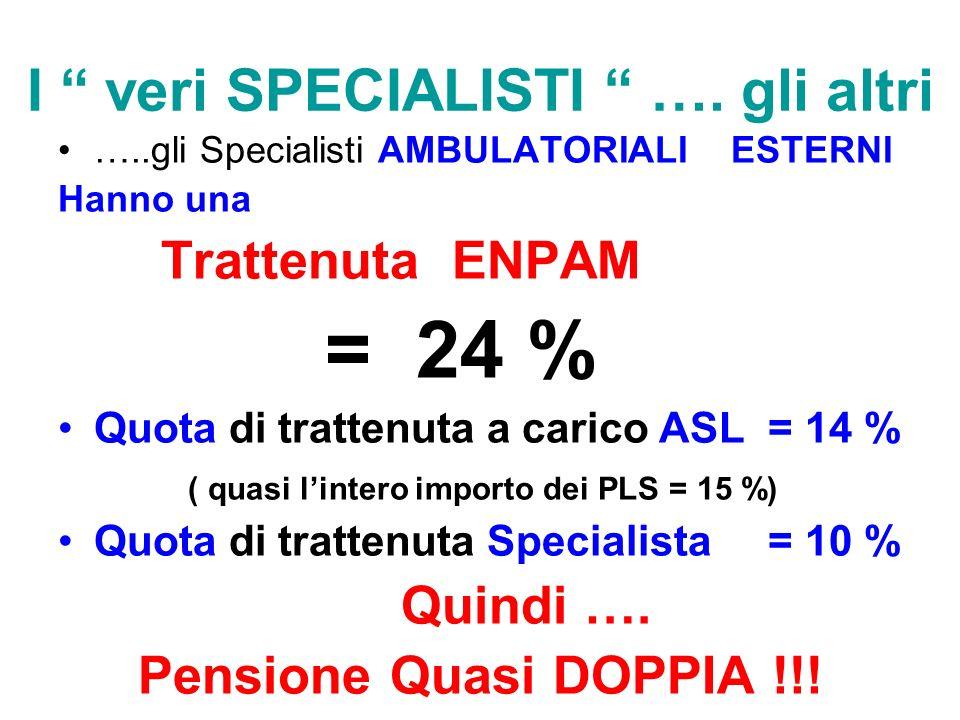 I veri SPECIALISTI …. gli altri …..gli Specialisti AMBULATORIALI ESTERNI Hanno una Trattenuta ENPAM = 24 % Quota di trattenuta a carico ASL = 14 % ( q