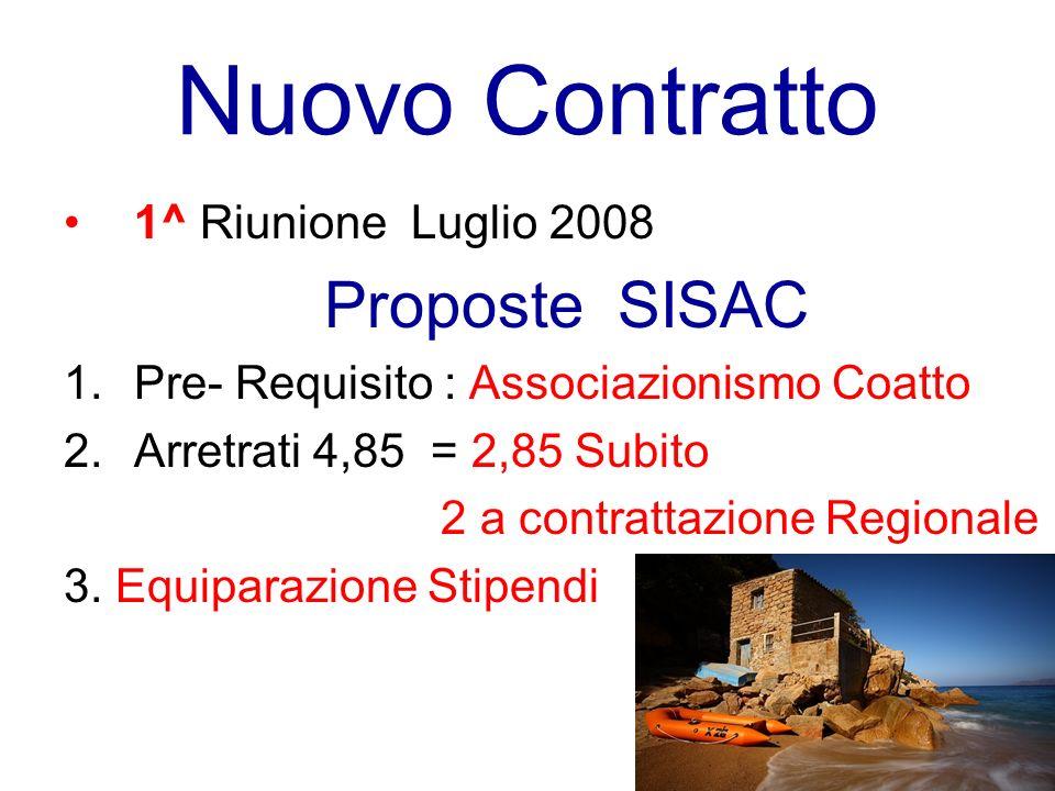 Nuovo Contratto 1^ Riunione Luglio 2008 Proposte SISAC 1.Pre- Requisito : Associazionismo Coatto 2.Arretrati 4,85 = 2,85 Subito 2 a contrattazione Regionale 3.