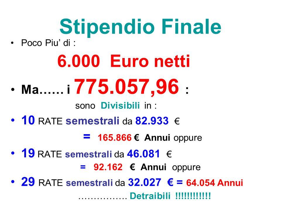 Stipendio Finale Poco Piu di : 6.000 Euro netti Ma…… i 775.057,96 : sono Divisibili in : 10 RATE semestrali da 82.933 = 165.866 Annui oppure 19 RATE semestrali da 46.081 = 92.162 Annui oppure 29 RATE semestrali da 32.027 = 64.054 Annui …………….