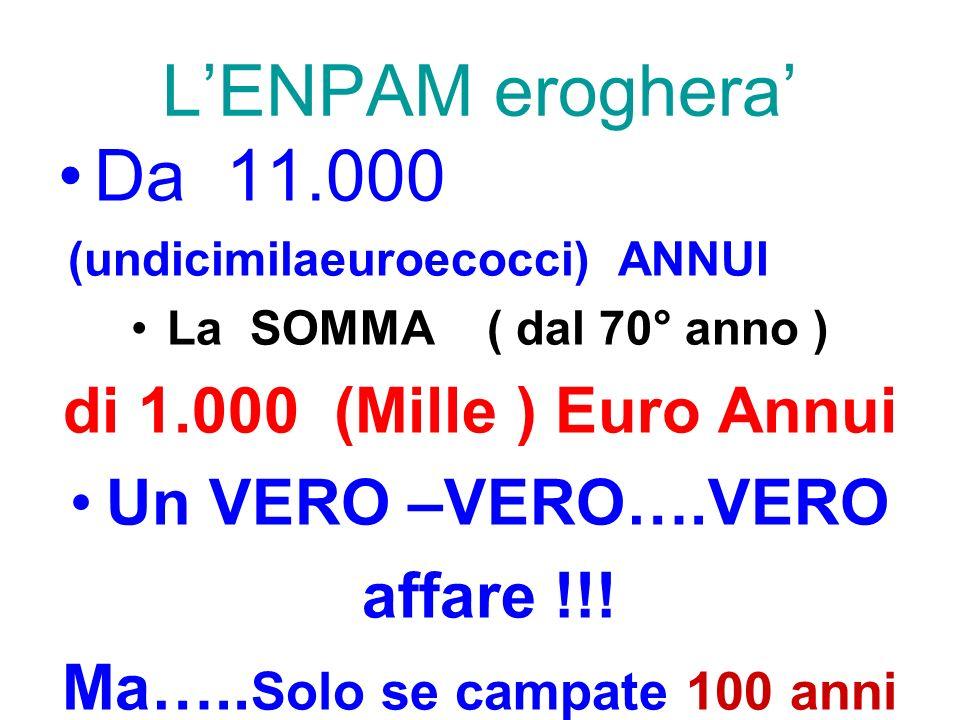 LENPAM eroghera Da 11.000 (undicimilaeuroecocci) ANNUI La SOMMA ( dal 70° anno ) di 1.000 (Mille ) Euro Annui Un VERO –VERO….VERO affare !!! Ma….. Sol