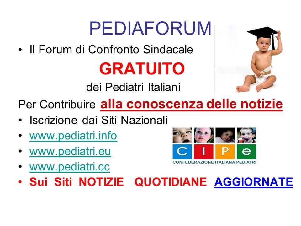 PEDIAFORUM Il Forum di Confronto Sindacale GRATUITO dei Pediatri Italiani Per Contribuire alla conoscenza delle notizie Iscrizione dai Siti Nazionali