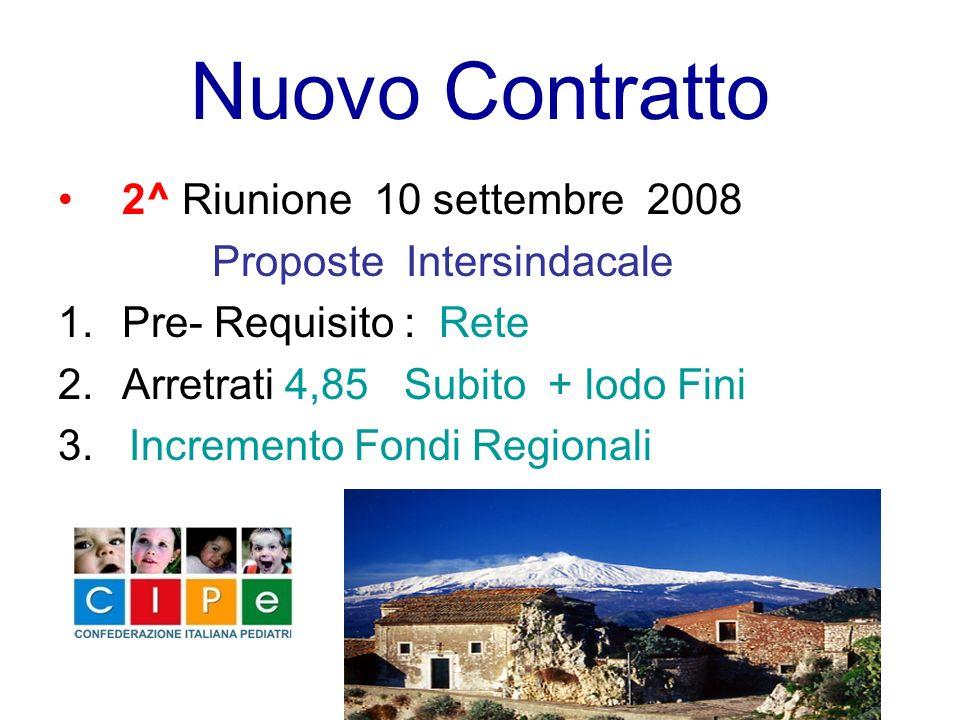 Nuovo Contratto 2^ Riunione 10 settembre 2008 Proposte Intersindacale 1.Pre- Requisito : Rete 2.Arretrati 4,85 Subito + lodo Fini 3. Incremento Fondi