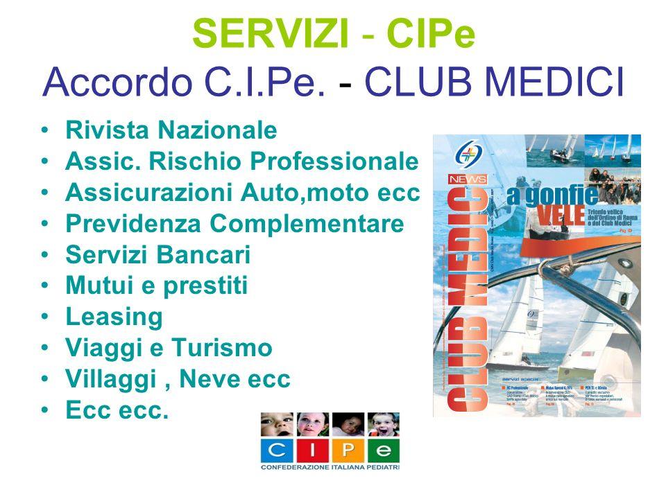 SERVIZI - CIPe Accordo C.I.Pe. - CLUB MEDICI Rivista Nazionale Assic. Rischio Professionale Assicurazioni Auto,moto ecc Previdenza Complementare Servi