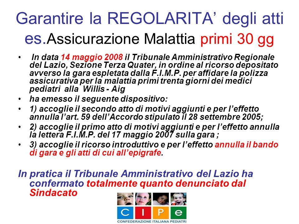 Garantire la REGOLARITA degli atti es. Assicurazione Malattia primi 30 gg In data 14 maggio 2008 il Tribunale Amministrativo Regionale del Lazio, Sezi