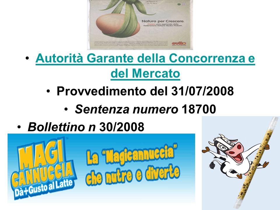 Autorità Garante della Concorrenza e del MercatoAutorità Garante della Concorrenza e del Mercato Provvedimento del 31/07/2008 Sentenza numero 18700 Bo