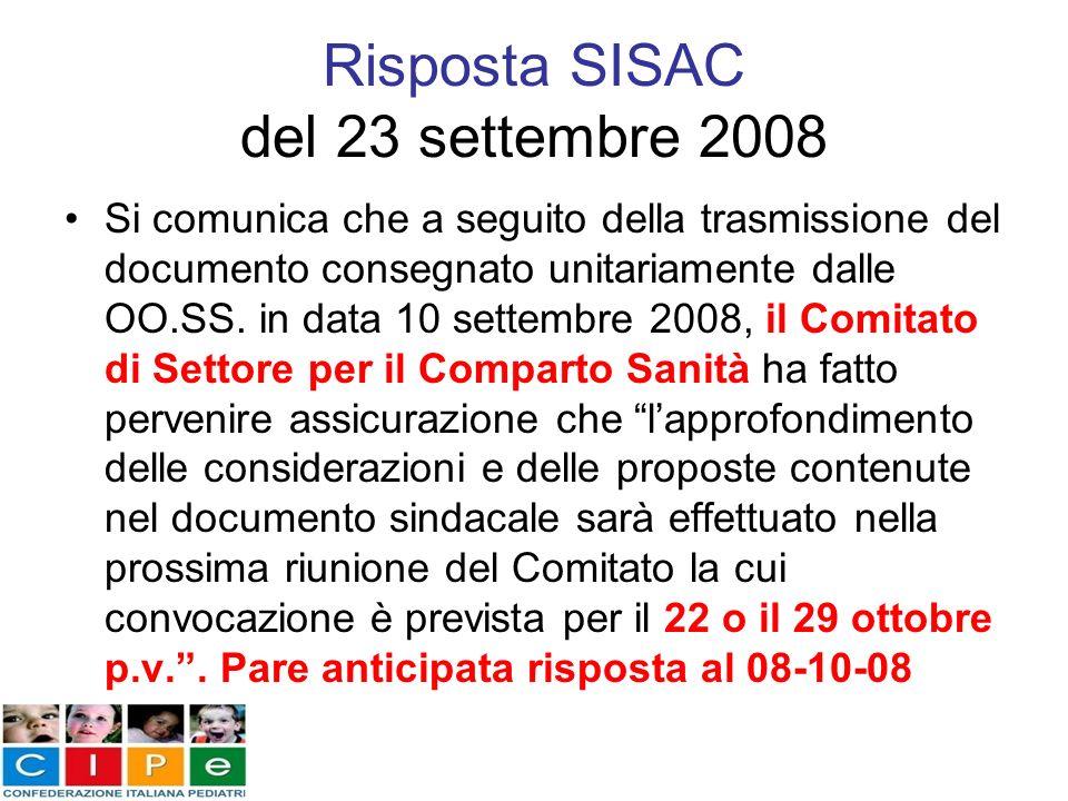 Risposta SISAC del 23 settembre 2008 Si comunica che a seguito della trasmissione del documento consegnato unitariamente dalle OO.SS. in data 10 sette
