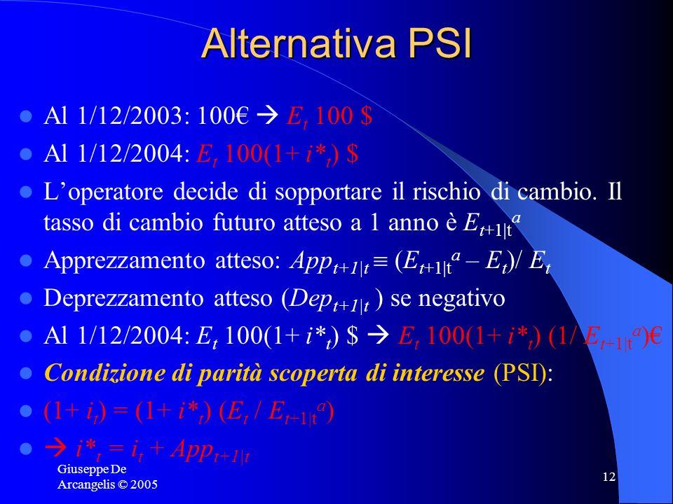 Giuseppe De Arcangelis © 2005 12 Alternativa PSI Al 1/12/2003: 100 E t 100 $ Al 1/12/2004: E t 100(1+ i* t ) $ Loperatore decide di sopportare il risc