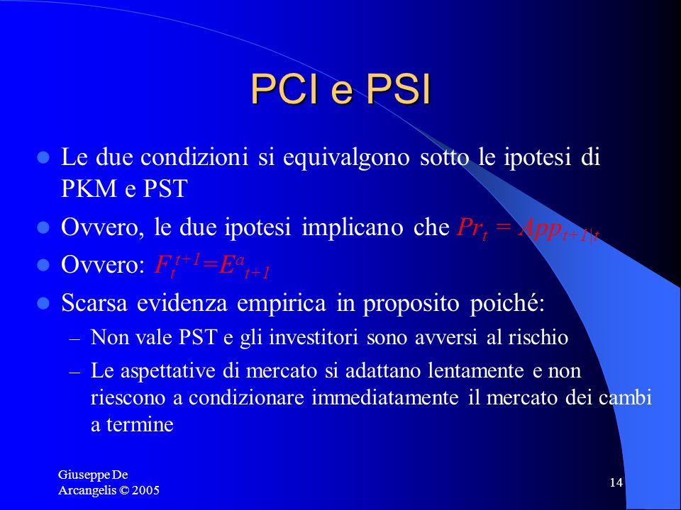 Giuseppe De Arcangelis © 2005 14 PCI e PSI Le due condizioni si equivalgono sotto le ipotesi di PKM e PST Ovvero, le due ipotesi implicano che Pr t =