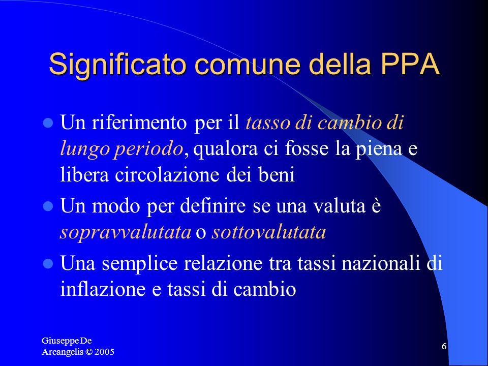 Giuseppe De Arcangelis © 2005 7 Critiche alla PPA Quanto è lungo il lungo periodo.