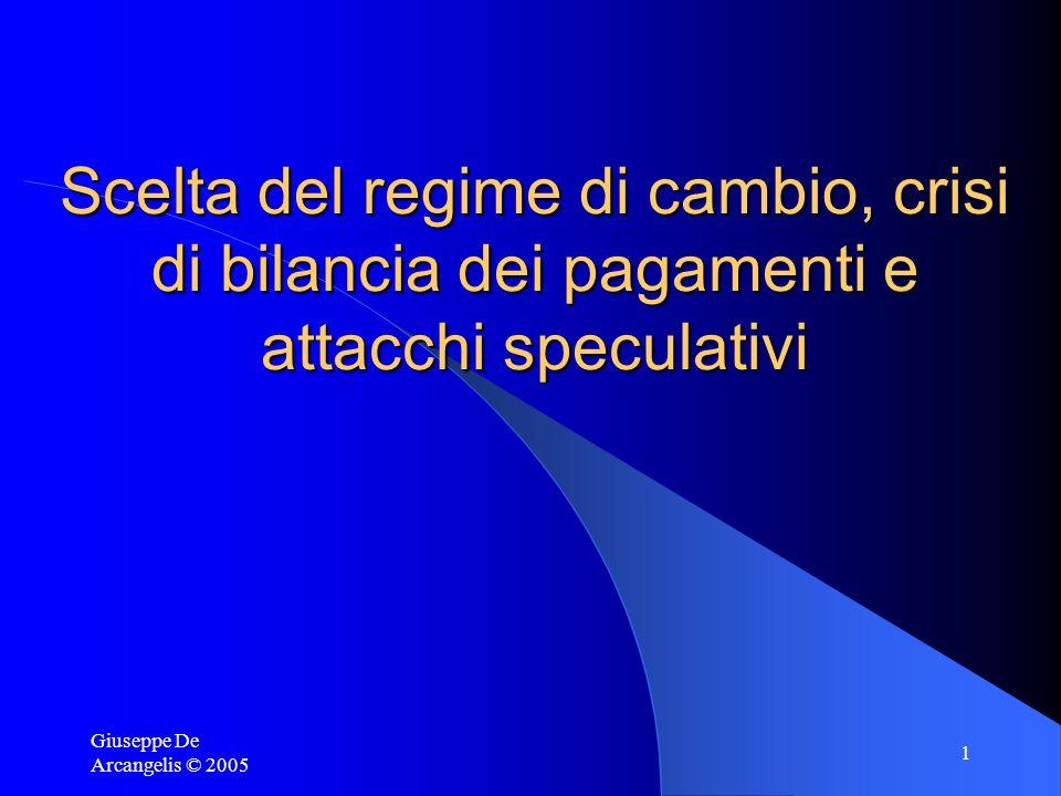 Giuseppe De Arcangelis © 2005 1 Scelta del regime di cambio, crisi di bilancia dei pagamenti e attacchi speculativi
