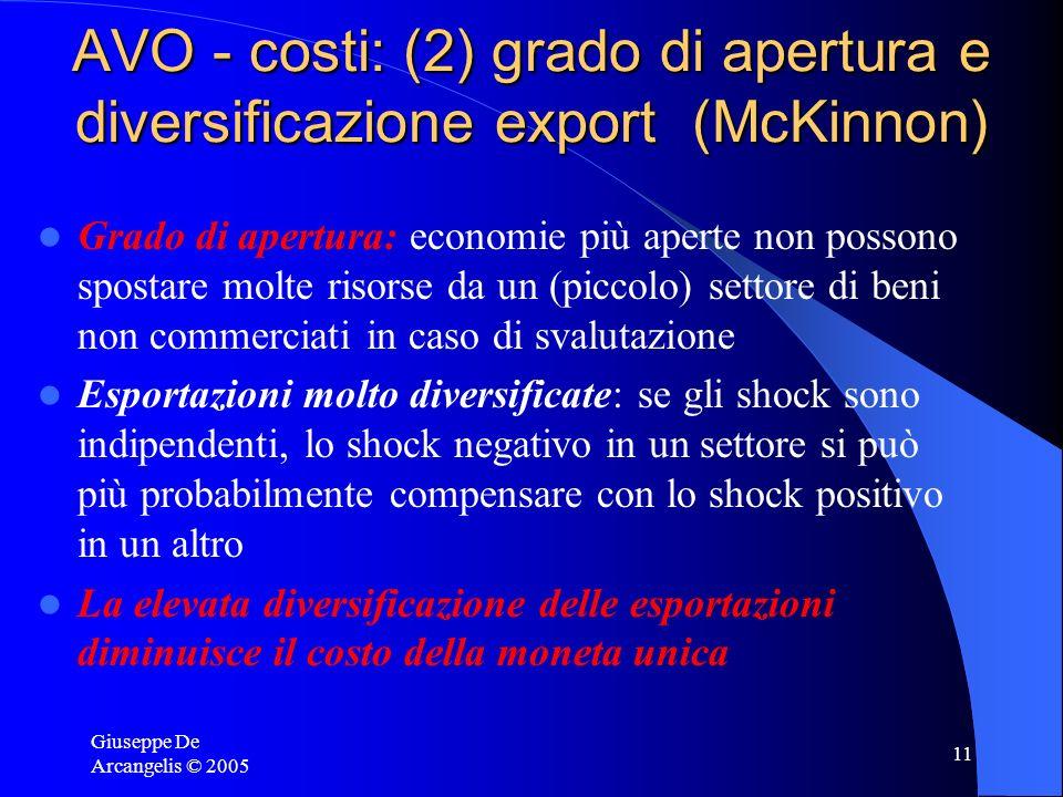 Giuseppe De Arcangelis © 2005 11 AVO - costi: (2) grado di apertura e diversificazione export (McKinnon) Grado di apertura: economie più aperte non po