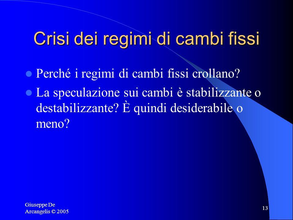 Giuseppe De Arcangelis © 2005 13 Crisi dei regimi di cambi fissi Perché i regimi di cambi fissi crollano? La speculazione sui cambi è stabilizzante o