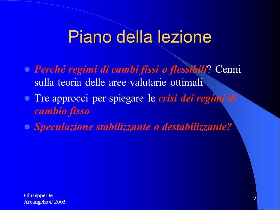 Giuseppe De Arcangelis © 2005 2 Piano della lezione Perché regimi di cambi fissi o flessibili? Cenni sulla teoria delle aree valutarie ottimali Tre ap