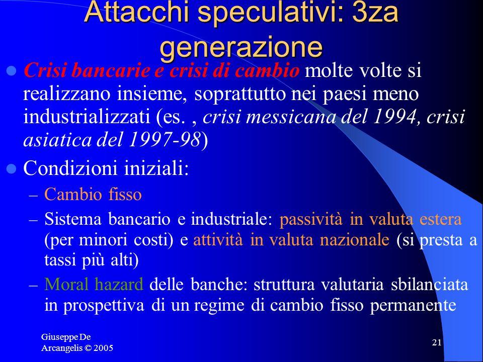 Giuseppe De Arcangelis © 2005 21 Attacchi speculativi: 3za generazione Crisi bancarie e crisi di cambio molte volte si realizzano insieme, soprattutto