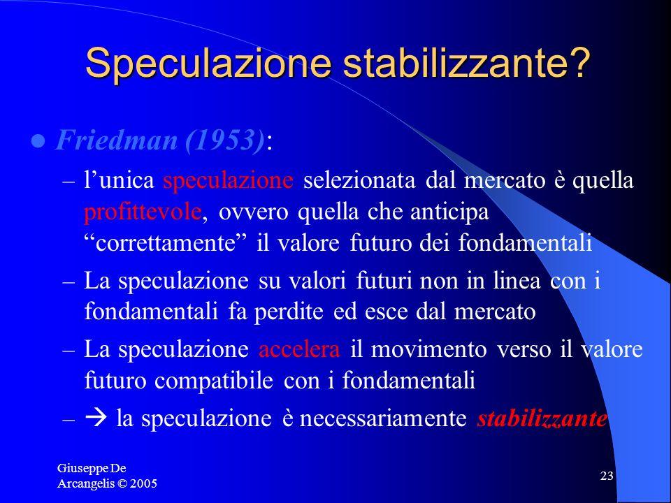 Giuseppe De Arcangelis © 2005 23 Speculazione stabilizzante? Friedman (1953): – lunica speculazione selezionata dal mercato è quella profittevole, ovv