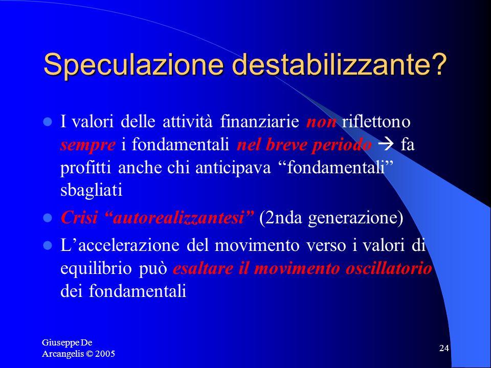 Giuseppe De Arcangelis © 2005 24 Speculazione destabilizzante? I valori delle attività finanziarie non riflettono sempre i fondamentali nel breve peri