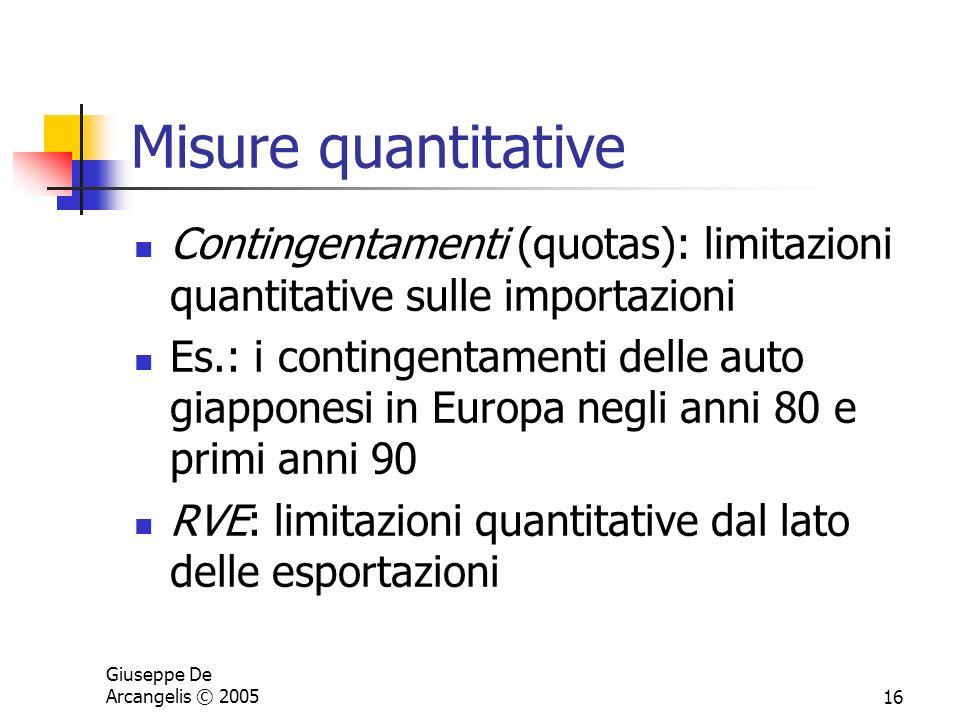 Giuseppe De Arcangelis © 200516 Misure quantitative Contingentamenti (quotas): limitazioni quantitative sulle importazioni Es.: i contingentamenti del