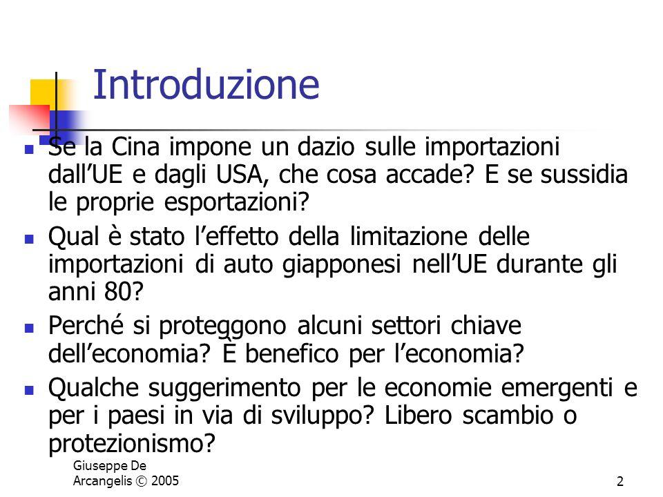 Giuseppe De Arcangelis © 20052 Introduzione Se la Cina impone un dazio sulle importazioni dallUE e dagli USA, che cosa accade? E se sussidia le propri