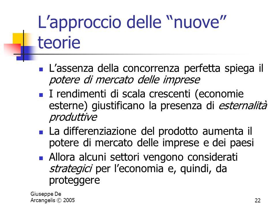 Giuseppe De Arcangelis © 200522 Lapproccio delle nuove teorie Lassenza della concorrenza perfetta spiega il potere di mercato delle imprese I rendimen