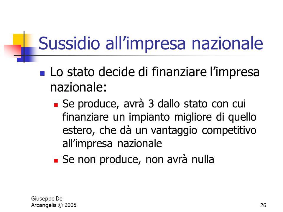 Giuseppe De Arcangelis © 200526 Sussidio allimpresa nazionale Lo stato decide di finanziare limpresa nazionale: Se produce, avrà 3 dallo stato con cui