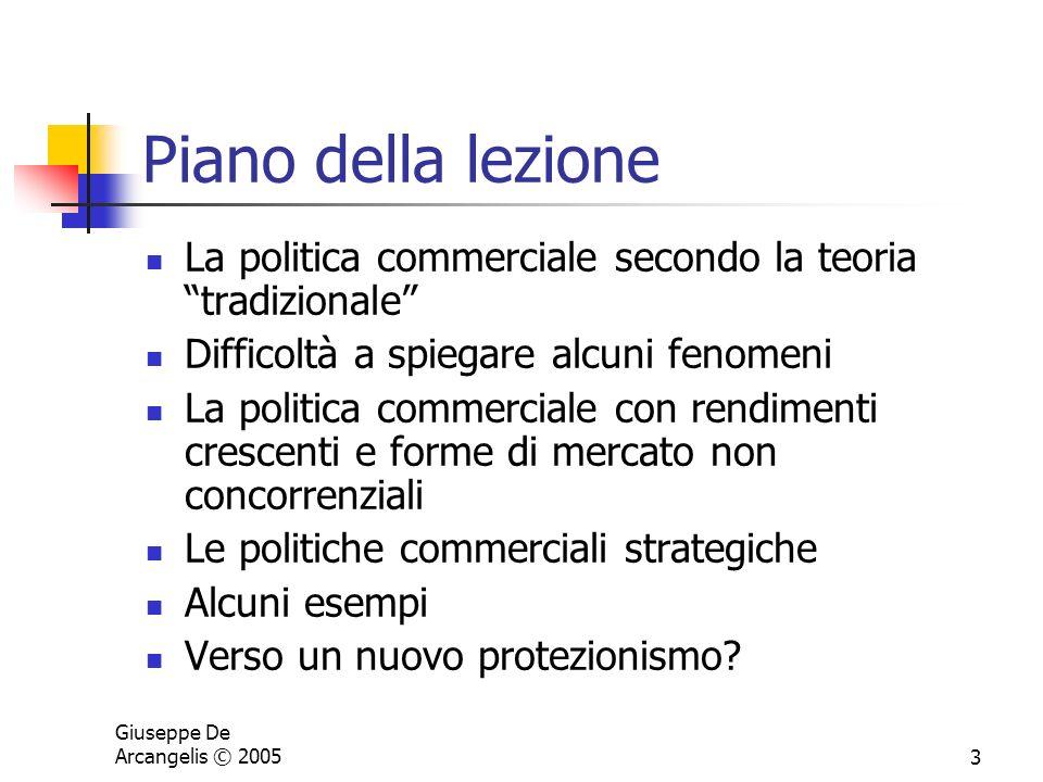 Giuseppe De Arcangelis © 20053 Piano della lezione La politica commerciale secondo la teoria tradizionale Difficoltà a spiegare alcuni fenomeni La pol