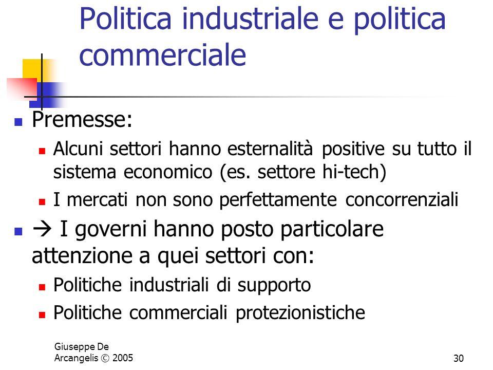 Giuseppe De Arcangelis © 200530 Politica industriale e politica commerciale Premesse: Alcuni settori hanno esternalità positive su tutto il sistema ec